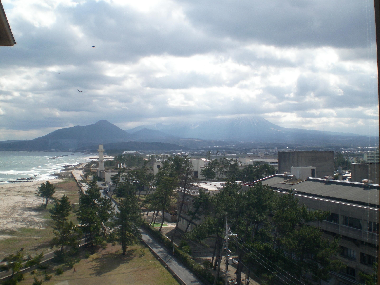 旅館から望む大山